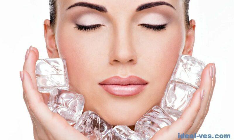Желательно протирать кожу лица кубиками льда