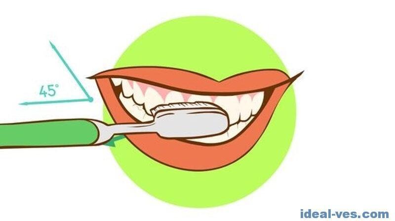 Правильный угол наклона для чистки зубов