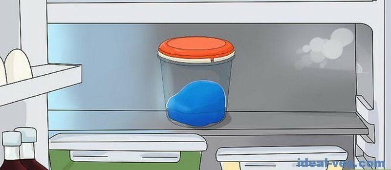 Поставить слайм в холодильник