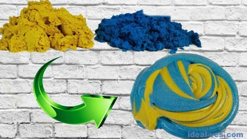 Разноцветный слайм из кинетического песка