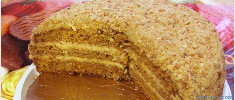 Медовик - классический торт со сгущенкой и сливочным кремом